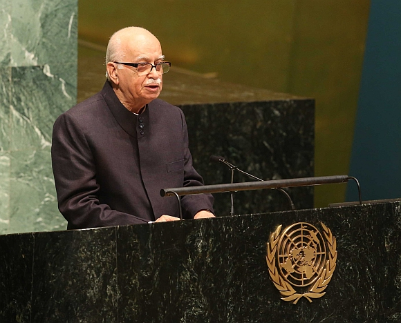 Senior Bharatiya Janata Party leader L K Advani addressing the United Nations Security Council