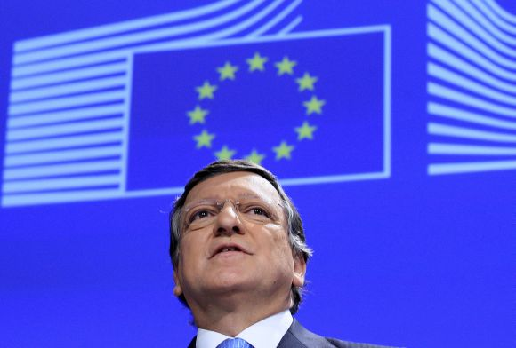 European Commission President Barroso makes a speech after EU won the Nobel Peace Prize