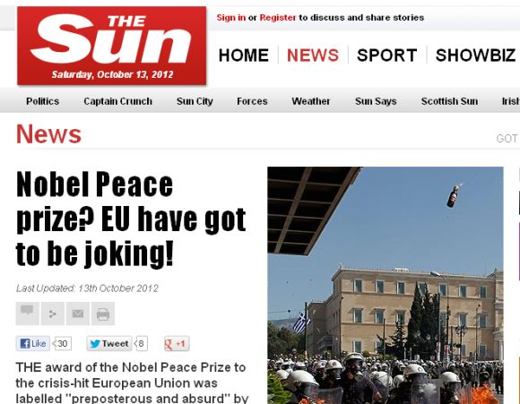 A grab of the Sun story on Nobel Peace Prize to EU