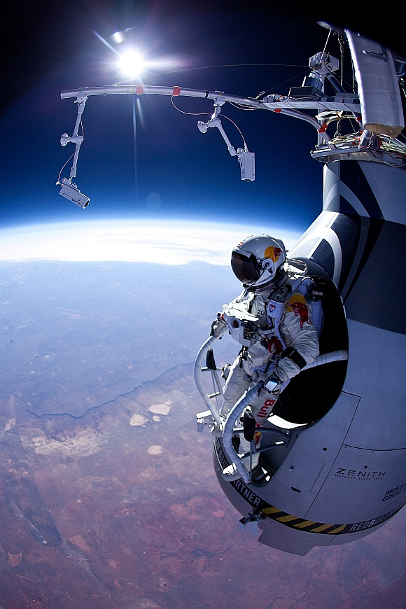 Felix Baumgartner is seen before his jump