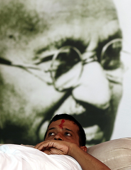 Arvind Kejriwal during a hunger strike