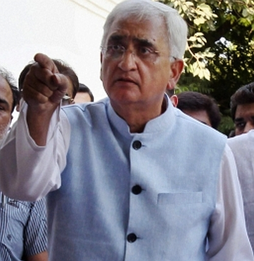 Law Minister Salman Khurshid at the press conference in New Delhi