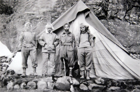 Then Second Lieutenant A J S Behl, second from right, at Tsangdhar in early October 1962