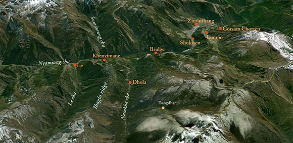 The map of Thagla ridge and Namkha chu river