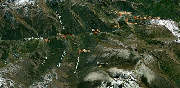 The map of Thagla ridge and Namkha chu river