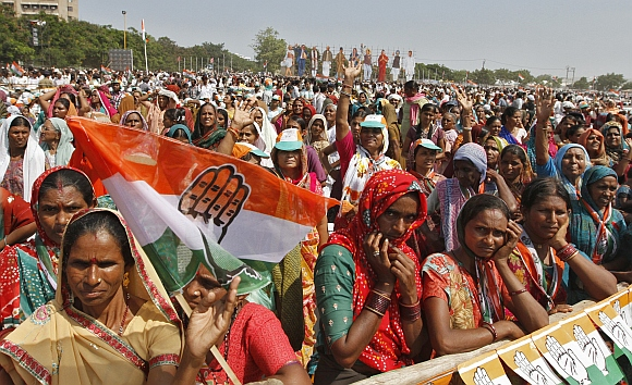 Congress supporters at a rally in Rajkot.