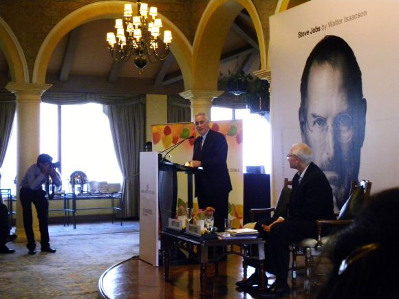 Walter Isaacson, Steve Jobs' biographer, addresses the Aspen Institute of India in New Delhi