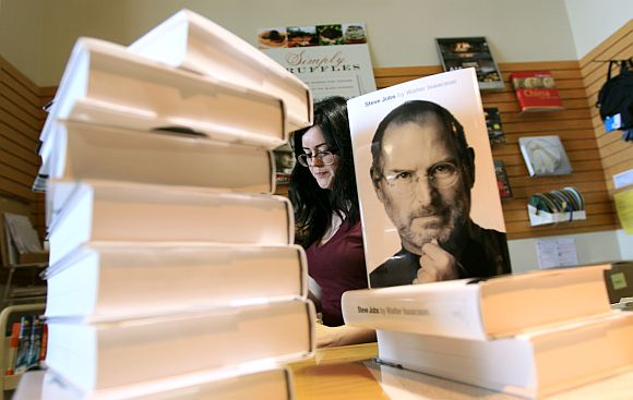 Walter Isaacson's biography of Steve Jobs at a bookstore in San Francisco