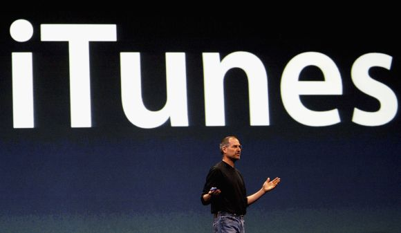 Steve Jobs launches the iTunes music store on June 15, 2004 in London
