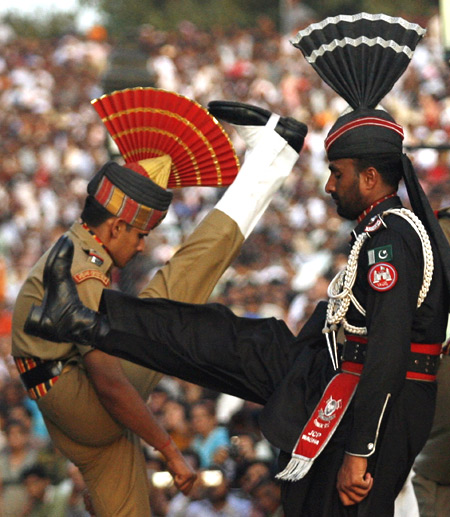 A Pakistani Ranger and a Border Security Force officer during the daily parade at the Wagah border.