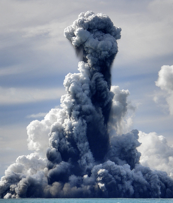 Smoke is seen after an underwater volcano erupted in Hunga Ha'apai, Tonga