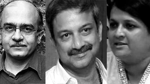 From left: IAC members Prashant Bhushan, Mayank Gandhi and Anjali Damania