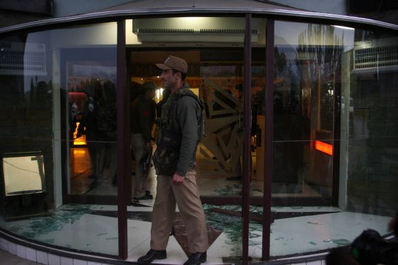 Security personnel at the Silver Star hotel which was attacked