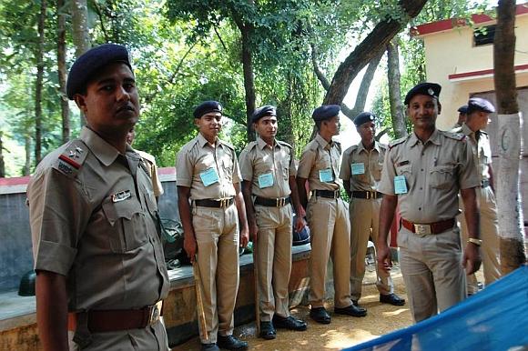 Security personnel at the Mukherjee Bhavan