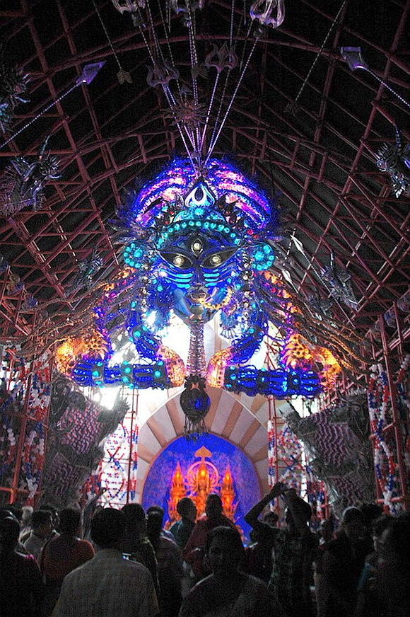 The puja pandal at Mudiali in Kolkata