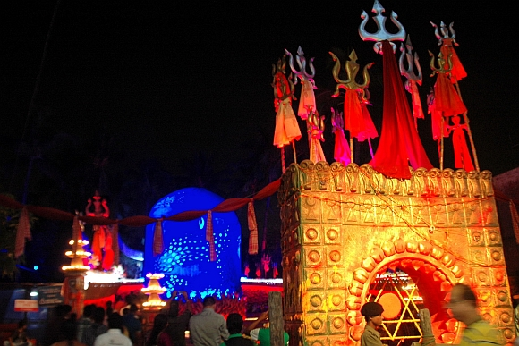 The puja pandal at Barisha club in Kolkata