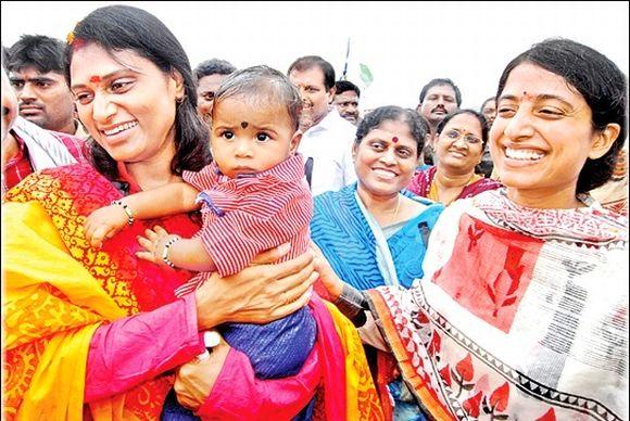 Sharmila (left) and Vijayamma (centre) during the ongoing YSR Congress pad