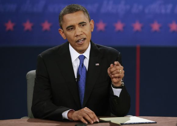 Obama makes a point during the final US presidential debate in Boca Raton