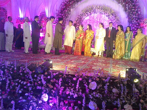 Gadkari greets guests at the wedding of his son, Sarang.