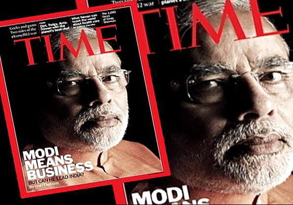 Gujarat Chief Minister Narendra Modi on the cover of Time magazine.