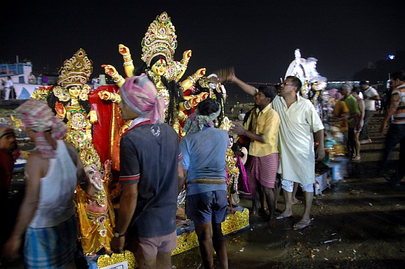 Immersion of Durga idol at Howrah.