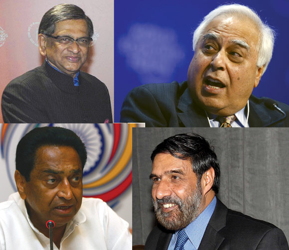 Clockwise from top left: SM Krishna, Kapil Sibal, Anand Sharma and Kamal Nath