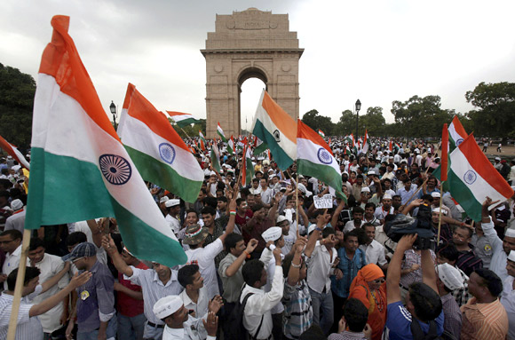 Anna Hazare's supporters at India Gate in New Delhi