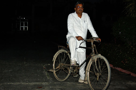 Professor Pradeep Bhargava on a cycle borrowed from a staff member at  the GB Pant Institute