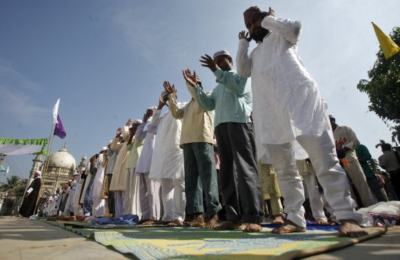 Muslims perform Eid-ul-Azha prayers in Agartala, capital of India's northeastern state of Tripura