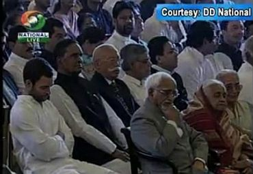 A video grab showing Congress general secretary Rahul Gandhi attending the swearing-in ceremony at Rashtrapati Bhavan on Sunday
