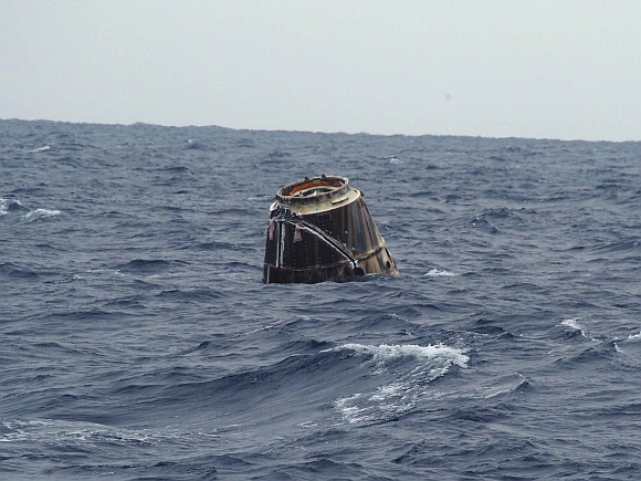 The SpaceX splashes down in the Pacific Ocean