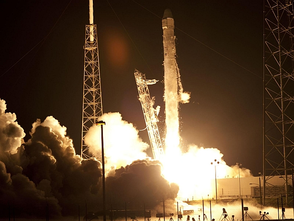 The SpaceX Falcon 9 rocket lifts off from Space Launch Complex 40 at the Cape Canaveral Air Force Station in Cape Canaveral, Florida. Picture taken on October 7, 2012