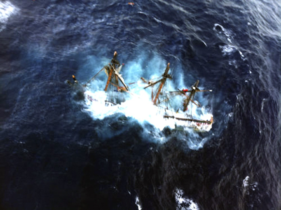 The HMS Bounty, a 180-foot sailboat, is shown submerged in the Atlantic Ocean during Hurricane Sandy