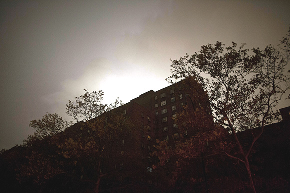 A view of a housing building in Manhattan's East Village hit by blackouts due to a power outage from rising waters