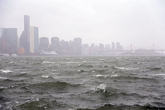 Waves pick up on the East River ahead of Hurricane Sandy on eastside of Manhattan