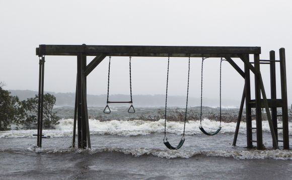 A storm-swept coast in Southampton, New York, on Monday following Hurricane Sandy