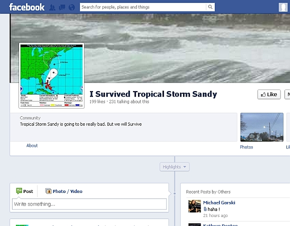 The 'Tracking Sandy' page on Facebook