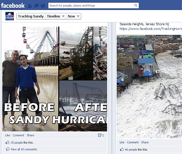 The 'Tracking Sandy' Facebook page