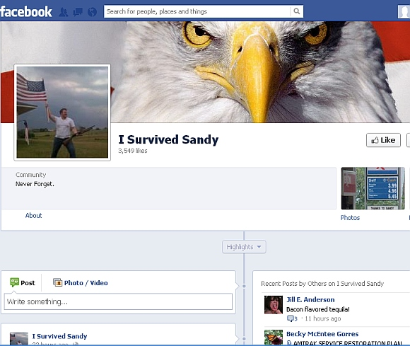 The 'I Survived Sandy' page