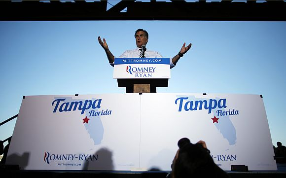 Republican presidential nominee Mitt Romney speaks at the campaign rally in Tamp