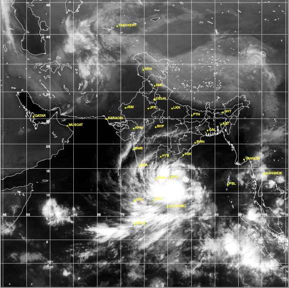 Satellite image showing deep depression over the south west Bay of Bengal