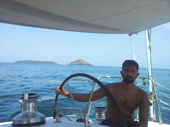 Lieutenant Commander Abhilash Tomy aboard the Mhadei
