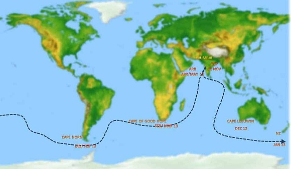 The route map of Lieutenant Commander Abhilash Tomy's voyage