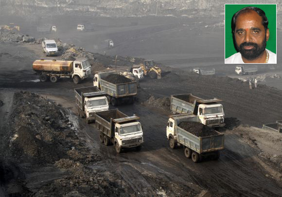 Trucks move in the Mahanadi coal fields near Odisha's Talcher town (Inset) MP Hansraj Ahir