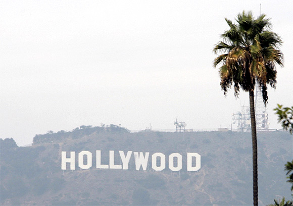 The Hollywood sign is seen on a hazy afternoon in Los Angeles, California