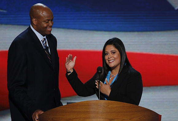 US first lady Michelle Obama's brother Craig Robinson and President Obama's sister Maya Soetoro-ng address delegates during the first day of the Democratic National Convention in Charlotte, North Carolina