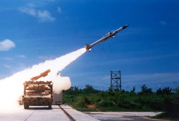 Akash missile being test fired from Integrated Test Range at Chandipur in Odisha