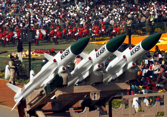 Akash missiles are displayed during the Republic Day parade in New Delhi