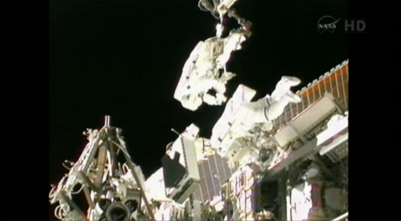 ISS Expedition 32 flight engineers Sunita Williams of NASA and Akihiko Hoshide of the Japan Aerospace Exploration Agency perform a spacewalk to complete an equipment installation outside the International Space Station in this NASA video image captured on September 5