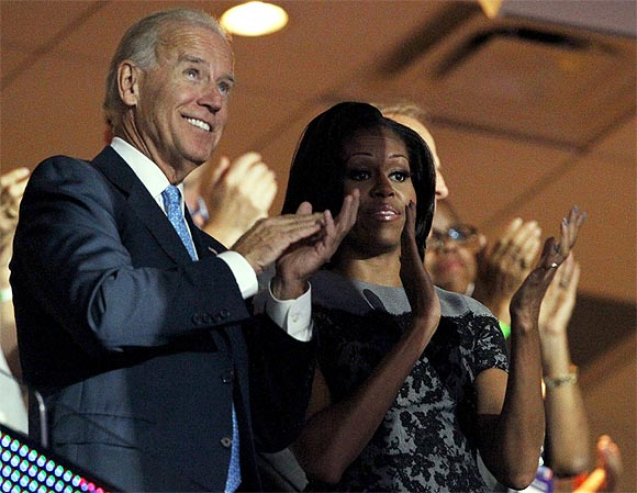 US Vice President Joe Biden and First Lady Michelle Obama